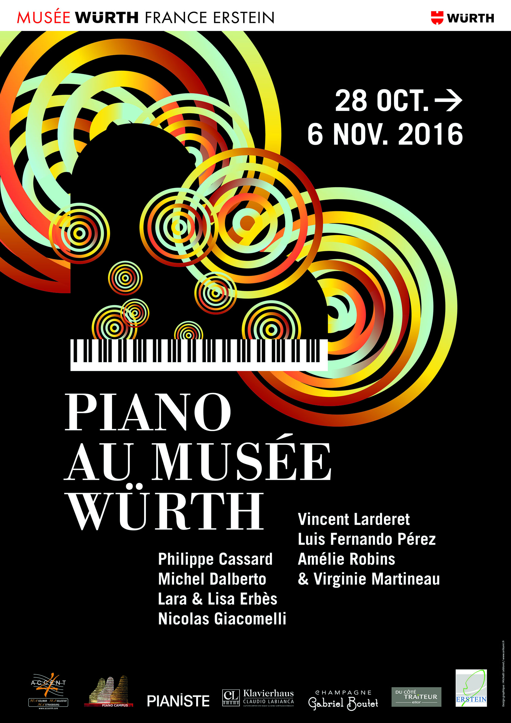 Affiche Wuth 2016 Piano et champagne BD