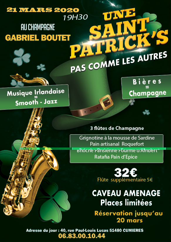 St patrick Champagne Boutet Bulles Sonores